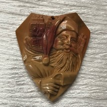 Finely Carved Mustard & Red Stone Santa Claus Kris Kringle w List & Bag ... - $27.90