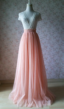 Blush Long Tulle Skirt Blush Wedding Bridesmaid Long Tulle Skirt A-line T1868 image 11