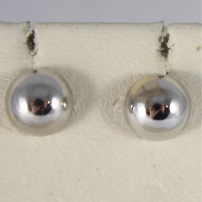 SOLID 18K WHITE GOLD EARRINGS, HALF BALL, ROUND, BALLS, MADE IN ITALY