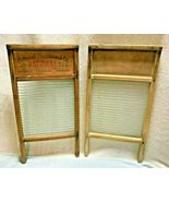 """NATIONAL WASHBOARD  COMPANY- PAIR OF WOOD AND GLASS BOARDS, #512 24"""" X 1... - $59.95"""