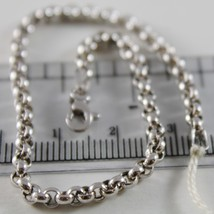 18K WHITE GOLD BRACELET 7.5 IN, DOME ROUND CIRCLE ROLO LINK, 3 MM MADE IN ITALY image 2