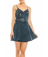 Salt Tree Women's Strappy Metal Zipper Belted A-Line Skater Denim Dress - $39.99