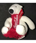 "White Polar Bear Coca Cola Knit Red Scarf Plush 4"" Mini stuffed animal t... - $14.84"