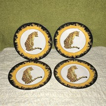 "4 FC Porcelain Leopard Animal Print Gold Black Salad Dessert Plates 7.5""... - $26.73"