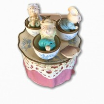 Vtg Tea For Two Mice In Teacups Mouse Music Box Love Makes The World Go ... - $36.62