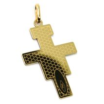 18K YELLOW GOLD FLAT SAINT DAMIANO CROSS PENDANT WITH WORKED FRAME & ENAMEL image 3