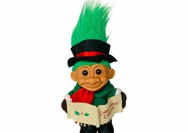 Russ Berrie Troll Doll Toy Figure Vtg fuzzy hair Green Christmas Caroler... - $23.17