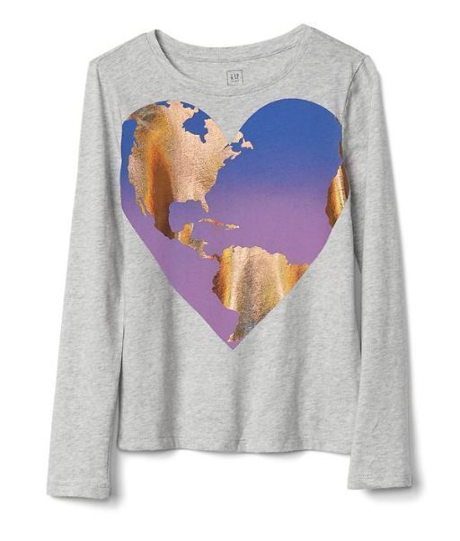 Gap Kids Girls T-shirt Top 4 5 Graphic Green Gray Navy Blue Long Sleeve Crew New image 5