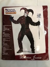 Sinister Jester Adult MEDIUM (40-42) Mens Halloween Costume Evil Clown R... - $21.99