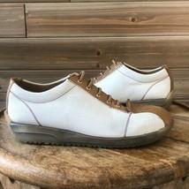 Stuart Weitzman White Canvas Brown Leather Trim Sneaker Shoe Size 8 - $74.41