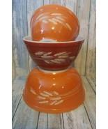 Pyrex Mixing Bowl Set Of Three Autumn Harvest Wheat Orange Rust #401, 40... - $20.57