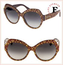 Dolce & Gabbana PRINT FAMILY 4320 Red DAMASCUS Gold Glitter Sunglasses D... - $267.30