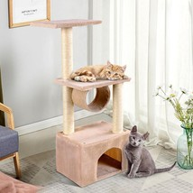 "37"" Cat Tree Condo Scratch Post Kitten Pet House-Beige - £45.74 GBP"