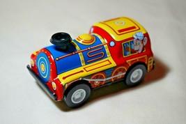 "Vintage Tin Toy New Sanko 3"" Friction Blue/Yellow Train Locomotive Made ... - $9.85"