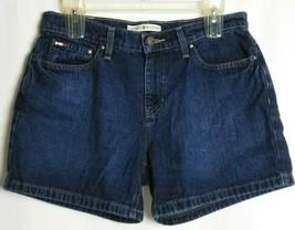 Tommy Hilfiger Womens Boyfriend Blue Jean Shorts Dark Wash Zip Fly Size 8 - $24.74