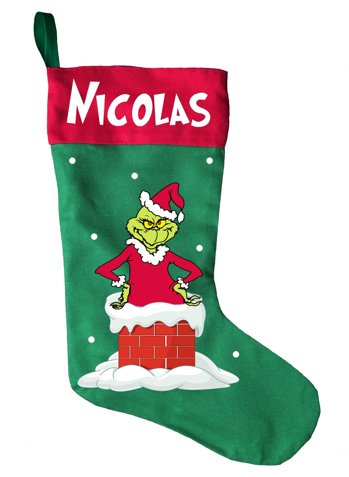 The Grinch Christmas Stocking - Personalized and Hand Made Grinch Christmas Stoc for sale  USA