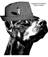 Doberman Pinscher dog fedora hat clipart jpg wa... - $1.99