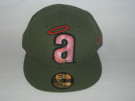 NEW ERA CALIFORNIA ANGELS LA RIFLE GREEN FITTED HAT CAP 7 1/4 59FIFTY BA... - $26.14