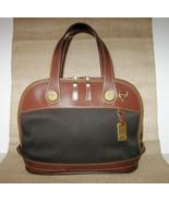 Vintage Dooney & Bourke Satchel Bag Black Canvas Brown Trim Crossbody Ma... - $69.99