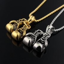 Gloves design pendan necklace gold silver plated boxing glove charm jewelry initial 374 thumb200