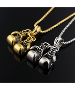 Personalized Couple Biker Boxing gloves design Pendan Necklace Gold Silv... - $19.43