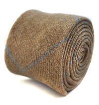 Henry Harris Tweed Cravate en beige avec clair à carreaux bleu hh104