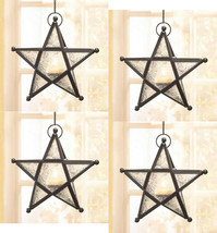 Four (4) wrought iron frame white glass hanging star candleholder lanter... - $32.00