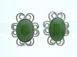 Green Agate Oval Stone Floral Flower Silver Tone Clip On Earrings Vintage - $13.86