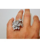 Van Cleef Inspired Design Lotus Flower 14k Solid Gold Two Finger Diamond... - $4,775.00