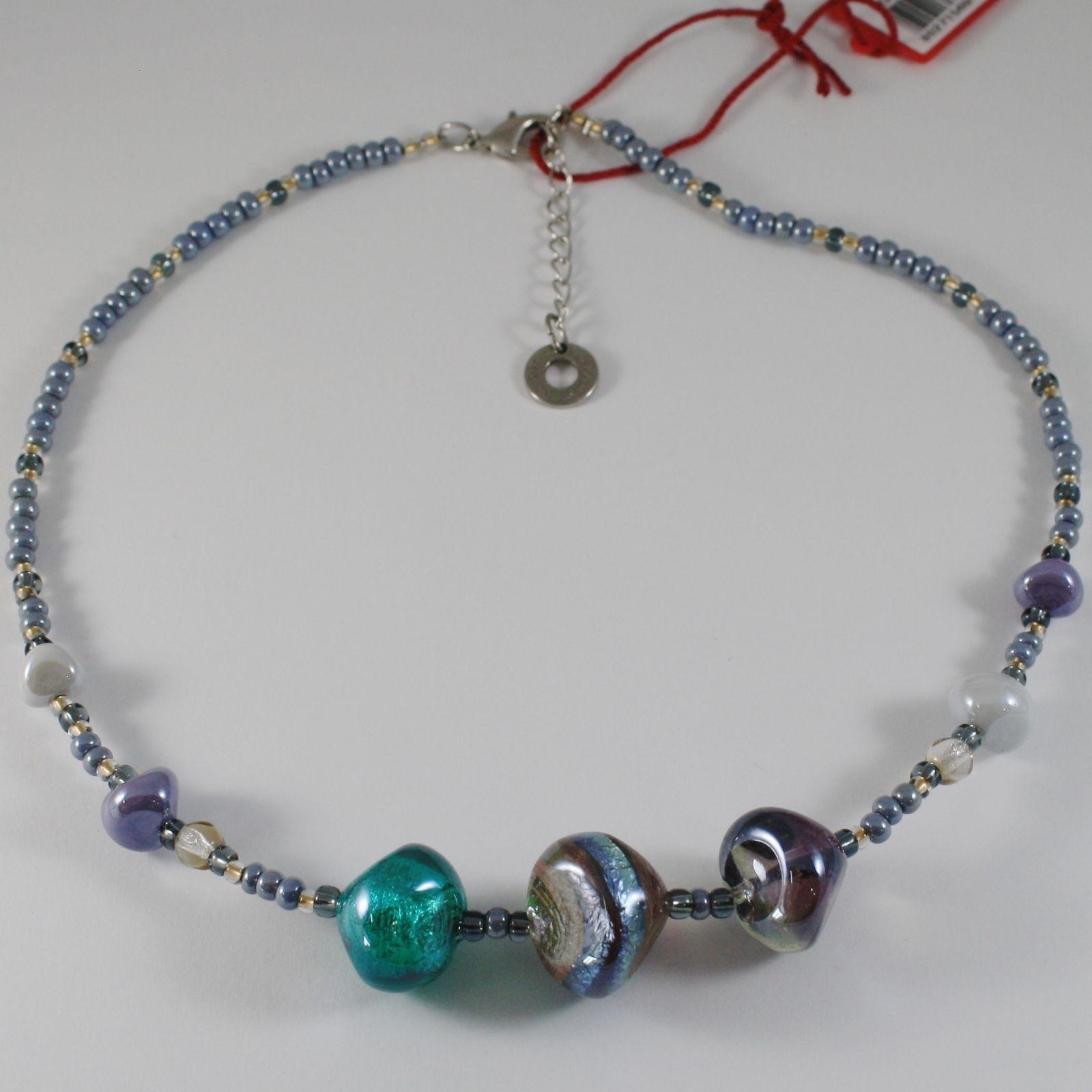 NECKLACE ANTICA MURRINA VENEZIA WITH MURANO GLASS BLUE GREEN GRAY CO985A07