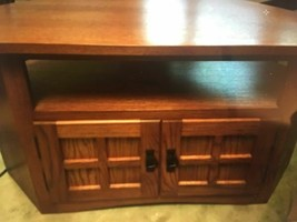 Wood Corner Table TV stand w Storage - $250.00