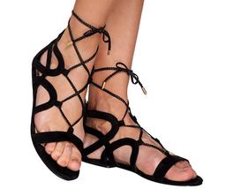 Marc Fisher Suede Lace-up Sandals - Kapre Black 7M - $39.59