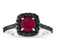 1.67 Carat Ruby Engagement Ring, 14K White Gold Certified Halo Handmade  - $2,250.00