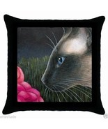 Black Throw Pillow Case from Art painting Siamese Cat 546 by L.Dumas - $20.99