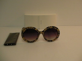Donna Prada Nuovi Occhiali da Sole Nero Beige Borchiato Barocco Spr29qsk - $293.77