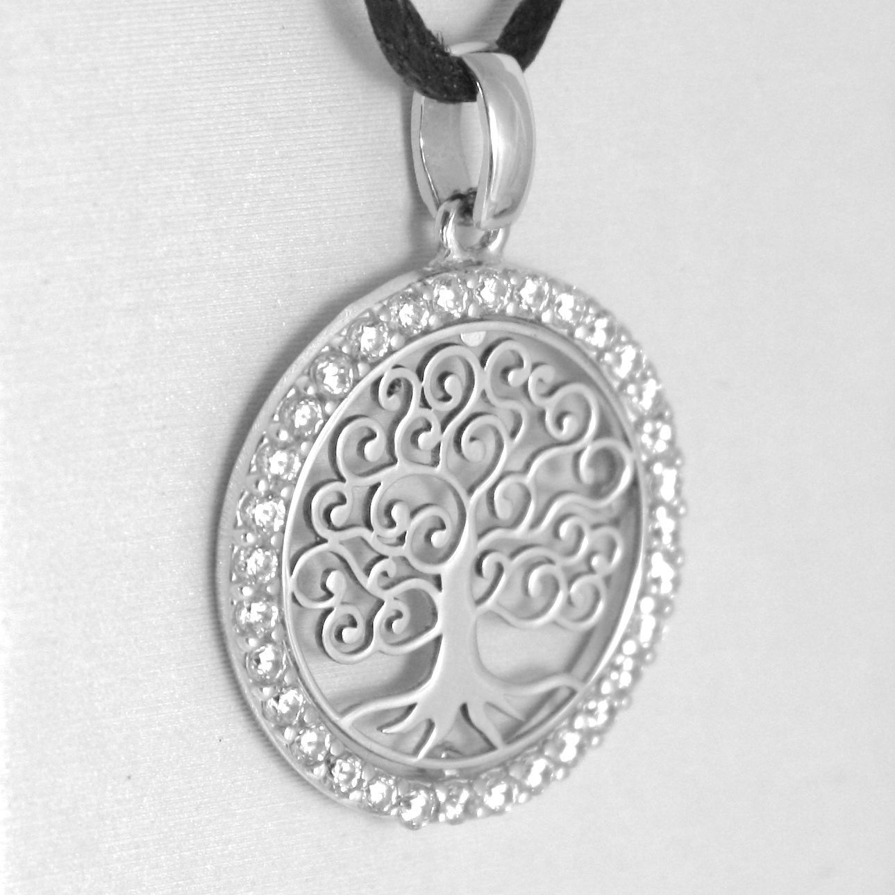 18K WHITE GOLD TREE OF LIFE PENDANT, 0.75 INCHES, ZIRCONIA, MADE IN ITALY