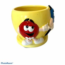 M&M's 3-D Characters Ceramic Yellow Blue Red Candy Dish Planter Pot - $18.70