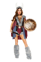 Sexy Roma Shieldmaiden Viking Warrior Halloween Costume W/WO LEG WARMERS... - $74.00+