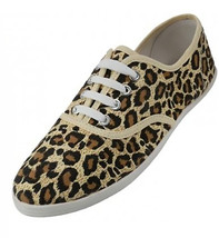 Womens Leopard Animal Print Tan Canvas Lace Up Sneakers Plimsoll Tennis Shoes - $18.11 CAD