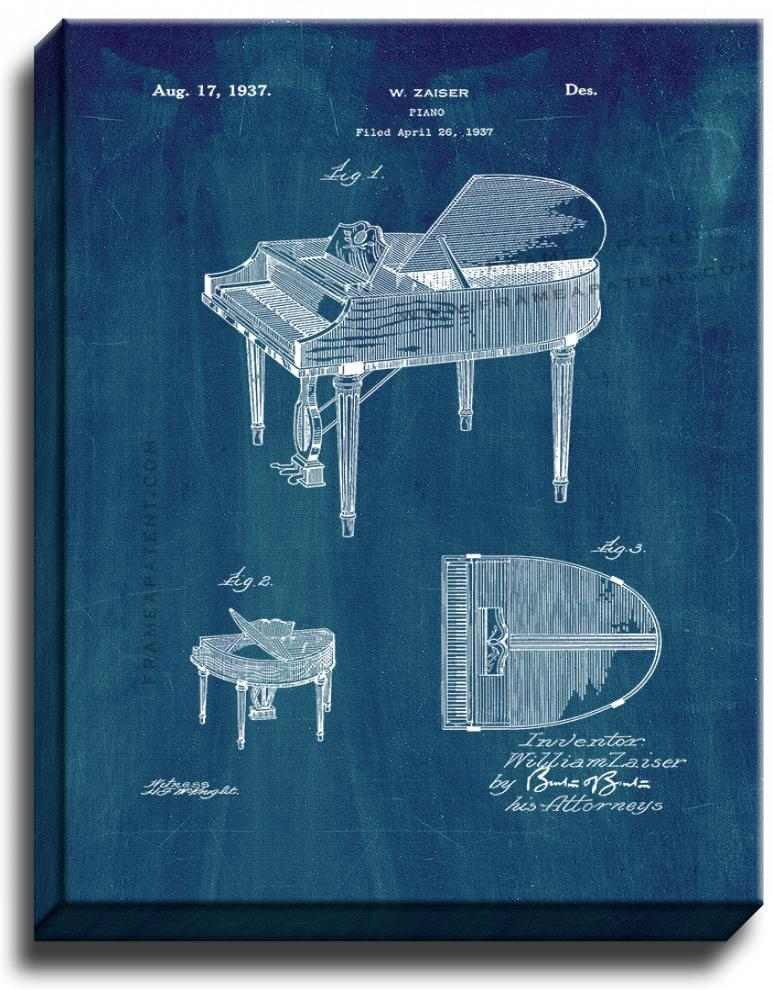Primary image for Piano Patent Print Midnight Blue on Canvas