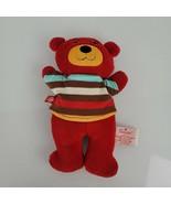 "Zutano Red Little Bear Rattle Plush Stuffed 9.5"" Nat & Jules Demdaco Str... - $44.54"