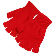 Red 2 Pair Unisex Soft Half Finger Gloves Warm Knitted Mittens Fingerless - $265,75 MXN