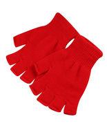 Red 2 Pair Unisex Soft Half Finger Gloves Warm Knitted Mittens Fingerless - $14.00