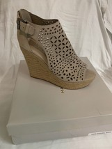 Marc Fisher Womens Helda Leather Open Toe Casual Espadrille, Dark Nat, Size 9 - $64.34
