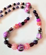Geometric Pink Necklace, Beaded Purple Necklace, Faux Pearl Necklace, Ge... - $25.00