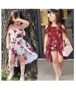 Kid Girl Summer Sweet Clothing Fashion Flower Print Sling Falbala Dress - $29.99+
