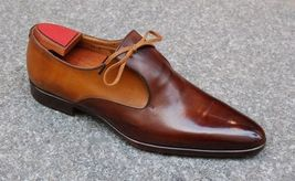 Brown Color Genuine Premium Leather Men Handmade Oxford RoundedToe Vintage Shoes - $139.90+