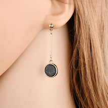 BAHYHAQ - Marble Stud Earrings for Women Round Asymmetric Long Earring - $1.70