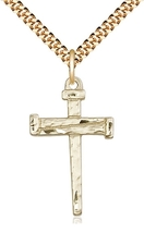 NAIL CROSS - 14kt Gold Filled Pendant on a 24 inch Gold Plate Heavy Curb... - $67.99