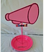 Cheer Megaphone Cheerleading Jewelry Holder Organizer Earrings Pink Meta... - $16.33